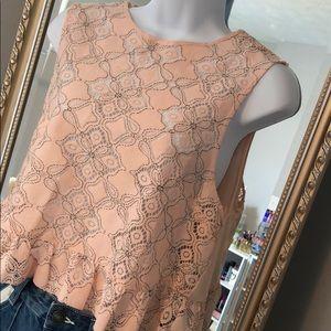 Urban Outfitters pink lace dark stitch peplum tank